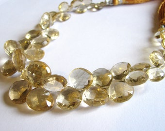 Stunning Honey Quartz faceted heart briolettes, half strand 3.5 inches, 21 beads, 6-11.5mm (w781)