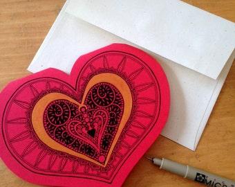 My Fancy Valentine - pen and ink heart-shaped valentine, original artwork, engagement, love, wedding