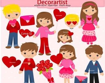 ON SALE Valentine's day clip art, love clip art , boy girl clip art, Digital clip art love, Heart , valentine clip art