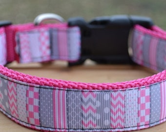 pink and gray pattern dog collar & or leash on pink webbing