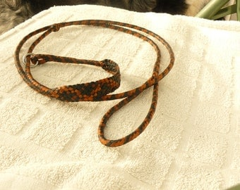 "Braided Kangaroo Leather Dog Show/Agility Slip Lead  - 58""Black/Tan/Whiskey"