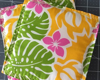 Set of 2 Turtle Trivets, Bright Pink, Yellow, Green, Monstera, Hot Pads, Pot Holders, Made in Hawaii, New 2017, Insulated, Square