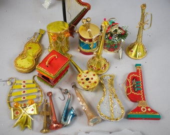 Vintage Collection Musical Instrument Christmas Tree Decorations Ornaments