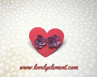 Origami flower post earrings stud earrings -  Pink - Metallic - Bling Bling