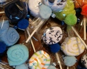 Set of 10 Washcloth Lollipop Baby shower gift boy girl favors decoration lot of 10 lots, washcloth candy, lollipops