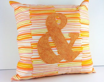 Orange, pink, yellow and cream modern ampersand cushion cover | Home Decor | Applique Cushion | Throw Pillow