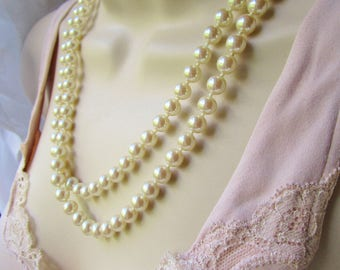 "Vintage Trifari Knotted Champagne Pearl Choker 42"" Opera  Necklace Collar Gold Safety Clasp Elegant Wedding Brides Jewels  Runway Statement"