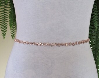 LAST ONE,Delicate Rose Gold Crystal Rhinestone Bridal Sash, Wedding sash,Bridal Accessories,Bridal Belt,Style #48