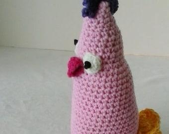 Chicken softie  Plushie chick  Pink Amigurumi  Baby crib toy  Baby shower gift