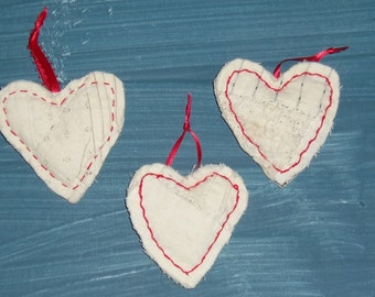 Vintage Log Cabin Quilt Hearts, 3, Rag Edges, Red Closing Stitches, Red Satin Ribbon Hangers, Appalachian Made. Logs, Ornament,