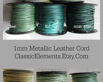 1mm Metallic Round Leather Cord, Metallic Leather Cord, 1mm Leather, Round Leather Cord, Metallic Leather Cord, Metallic Leather