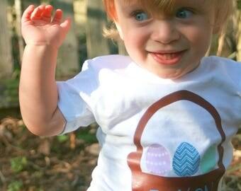 Personalized Easter Shirts for Toddler, Children, Babies, Boy, Easter Basket, Easter Eggs, Blue, Vinyl Shirts, Easter Gift,  Easter Idea