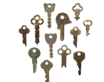 12 Vintage keys Antique small flat keys Old and odd keys Odd and old keys Artist keys Collage keys Mixed media keys Craft key Unique key #11