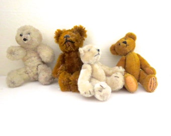 4 vintage Teddy Bears Collectible bears Vintage artist bears Tiny vintage bears Tiny vintage teddy bears Small Bears Instant collection