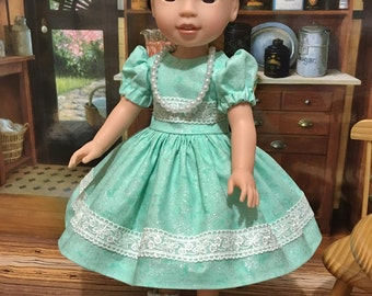 "Wellie Wishers ""Sparkles""  dress, slip, shoes, and necklace   fits the American girl Wellie Wisher doll"