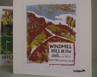 Hitchin Prints Card: Windmill Hill in Summer
