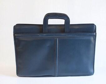 Vintage Leather Briefcase - Blue Pegasus attache Case