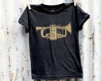 NOLA Trumpet Kid's Tee shirt, Black Tri Blend Tshirt, Kids clothing, New Olreans, Shop Local, Holiday Gift, Toddler T-shirt