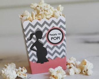 "Ready to Pop ""The Ashley Pink"" Chevron Baby Shower Popcorn Favor Box (SET OF 10)"