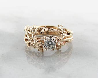 Maple Leaf Wedding Set, Yellow Gold with Quarter Carat Diamond
