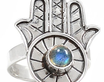 Hamsa Sterling Silver Labradorite Gemstone Ring Size 7