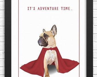 Frenchie art print. Illustrated dog art print. Art for nursery, adults, & children. Funny France bulldog art print. French bulldog picture.