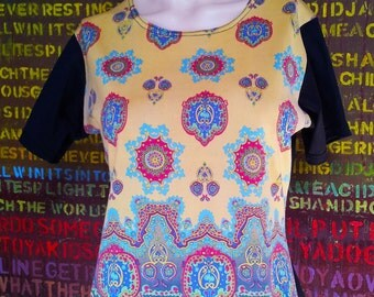 Vintage Paisley Top. Vintage Top. Vintage Womens Clothing. Vintage Urban Miss. Australian Design Clothing. Paisely. Yellow. Aqua. Red.