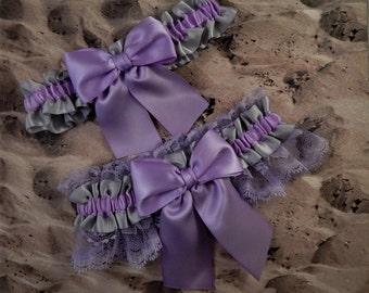 Orchid Lavender Purple Gray Satin Purple Lace  Wedding Bridal Garter Toss Set