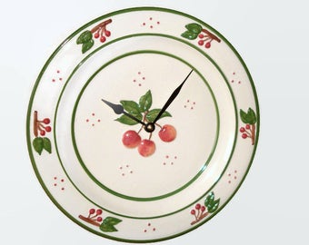12 Inch Cherry Plate Wall Clock, Rustic Ceramic Wall Clock, Kitchen Wall Decor, Unique Wall Clock - 2329