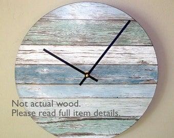 "SILENT ""Wood"" Image Wall Clock, 10 or 12 Inch Beachy Blue and Green Wall Clock, Unique Wall Clock (NOT Real Wood) - 2395"