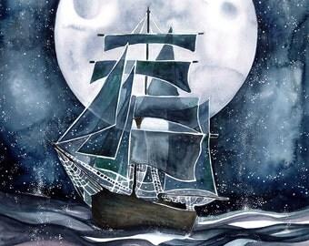 Ghost Ship Watercolour 11x14 Print