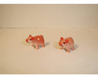 Fairy Garden Ceramic Baby Pigs/ Set of 2 / Pink OR Yellow /Minis/Supplies*