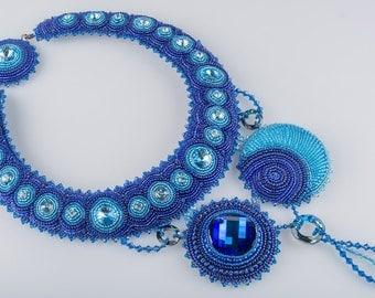 RESERVED - Night Sky Necklace, Swarovski  Bead Embroidered Bib Style Necklace, OOAK