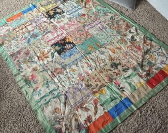 Vintage Quilt Linen Floral Handmade Patchwork Quilt Green Trim 1940s never used