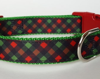 Christmas Plaid Dog Collar / Christmas Dog Collar