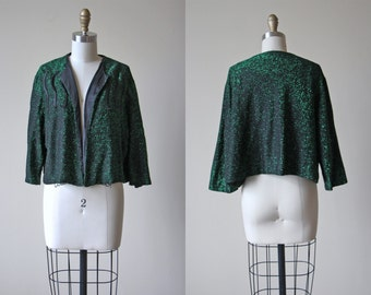 1950s Lurex Jacket -  Vintage 50s Rare Green Chromespun Metallic Lurex Knit Cocktail Jacket w Satin and Studs M L - Emerald Isle Jacket