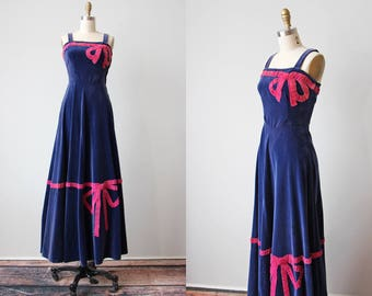 30s Gown - Vintage 1930s Evening Dress - Blue Velveteen Hot Pink Novelty Bows Dress XS - Sweet Soiree Gown