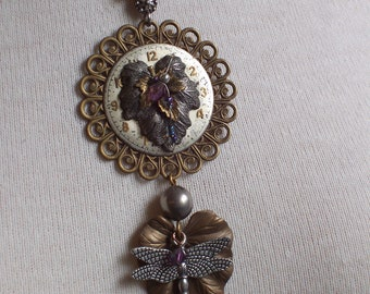Watch Face Leaf Dragonfly Mixed Metal assemblage necklace by ceeceedesigns on etsy