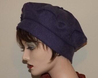 Ladies Harris Tweed Purple Wool Fabric Tam