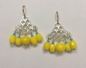 Mini Chandelier Earrings with Vintage acid yellow beads
