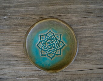 "Ring dish Meditation Om Yoga Lotus Flower in Turquoise  - 3"" lovely calming romantic coastal turquoise"