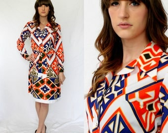 LANVIN Ikat /Shirt Dress-  Bold Graphic Long Sleeve - Brown Blue Orange - 10