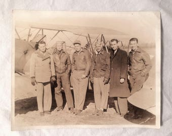 WWII Era Pilots Men with Airplane  Photo - 1940s - Sepia Black White Original
