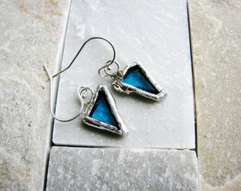 Blue Glass Earrings, Stained Glass Earrings, Soldered Earrings, Silver Earrings, Rustic Glass Earrings, Minimalist Earrings