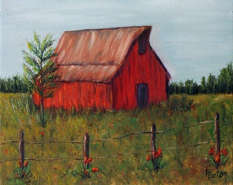 Red Barn, Red Barn Painting, Red Tulip. Farm Painting, Farm Life, 8x10 Canvas, Original Oil Painting, Summer Painting, Blue Sky, Helen Eaton