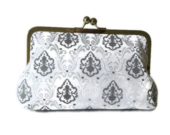 Gray and white print Bridesmaids Clutches  Wedding Purse, destination wedding, formal wedding