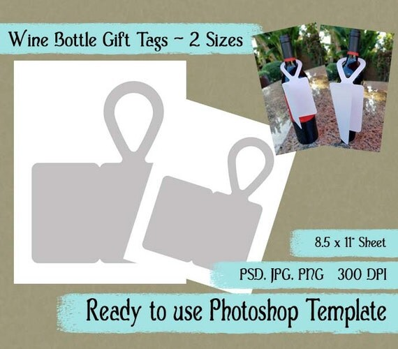 "Digital Template: ""Wine Bottle Gift Tag"" Diy Wine Bottle Gift Tag"