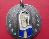 Vintage Religious Medal Virgin Mary Modernist French Silver And Enamel Necklace Signed Elie Pellegrin SS239