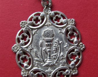 Antique Religious Medal French Silver Holy Communion Catholic Pendant Dated  1913   SS372