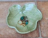 Trinket bowl soapdish textured stoneware kiwi leaf handmade ceramic pottery soap dish